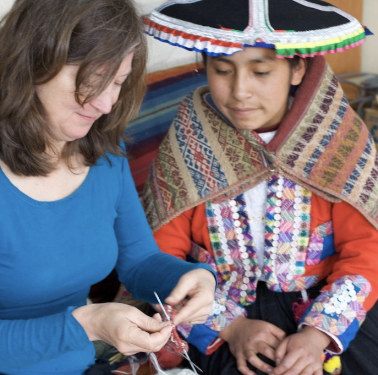 Petra shows Mary Jane Andean Knitting techniques